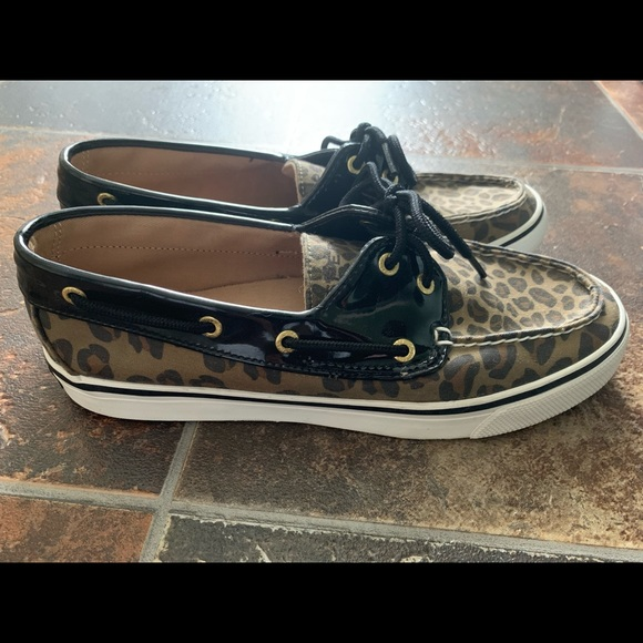 28186101b3d2f Sperry Top Slider Biscayne Leopard/Patent Leather